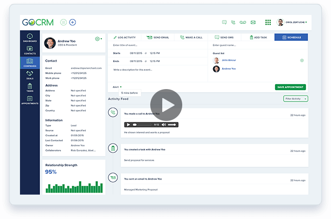 Dashboard of text messaging logs and recordings in GoCRM