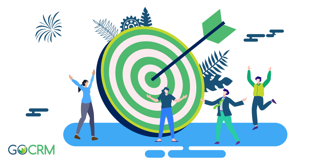 Vector illustration of people celebrating around large target with arrow in the middle