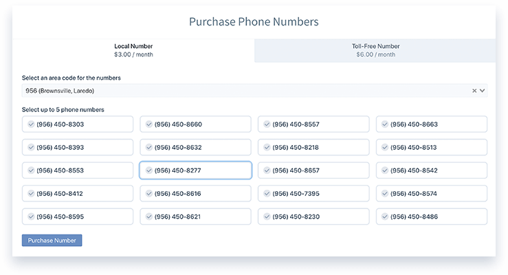Purchase phone numbers screen in GoCRM