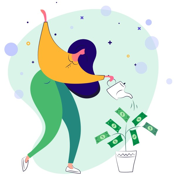 Woman watering plant and growing money